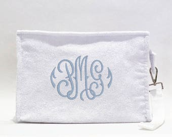 Monogrammed Cosmetic Bag, White Terry
