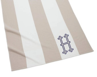 Monogrammed Stripe Beach Towel, Sand