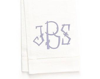 Chinois Monogram Hand Towel, White Linen