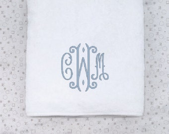 Monogrammed Bath Towel, White Terry