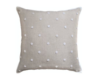 "French Knot Embroidered Pillow, 22"" x 22"""