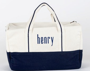 Monogrammed Small Duffel Bag, Navy