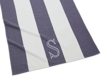 Monogrammed Stripe Beach Towel, Indigo
