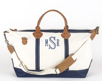Monogrammed Weekend Duffel Bag, Navy
