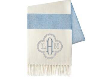 Monogrammed Throw, Denim Stripe