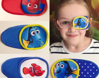 Eye patch for children with Memo and Dory. Patch for treatment of amblyopia, lazy eye, strabismus. Occlusion
