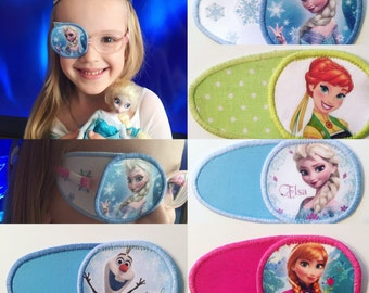 Eyepatch with Frozen: Elsa, Anna, Olaf. For treatment of amblyopia, lazy eye, strabismus. Augenklappe für Gläser. Cerotti Occhio. Occluder