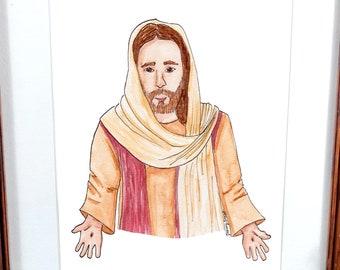 Christ Watercolor Painting, Christ Painting, Watercolor Jesus Painting, Children's Room Decoration, LDS Christ Art, Christ Watercolor Print