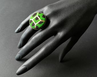 Adjustable ring cabochon wax (African fabric) #3 - copper antique bronze effect