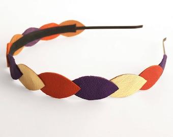 Orange, purple and gold leather headband