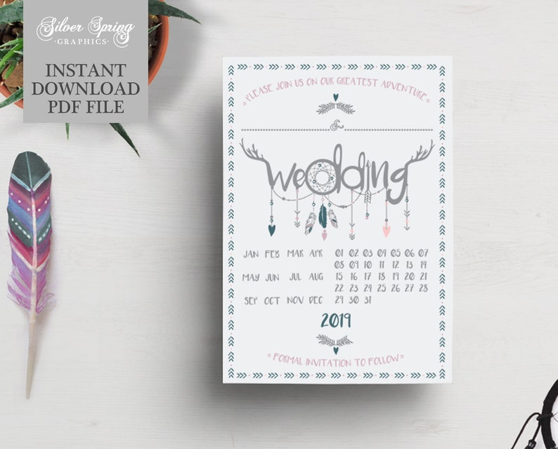 DIY Write Your Own A6 Save the Date 2019 - Ready to Write - Festival - Boho  - DIY Wedding - Blank - Fill In Invite - Instant Download