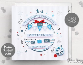 Personalised Christmas Baby Card, Baby Boy, Grandparent First Christmas Card, Sister, Brother Card, Son, New Baby, Baby Boy, First Christmas