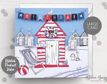 Personalised Birthday Card, Age Card, Beach Hut Card, Bunting, Age Birthday Card, Special Birthday, Friend Birthday, Relation Card, Family