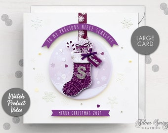 Personalised Christmas Card, Daughter, Granddaughter, Cousin, Niece, Goddaughter, Sister, Special Christmas Card, Grandparent, Stocking Card