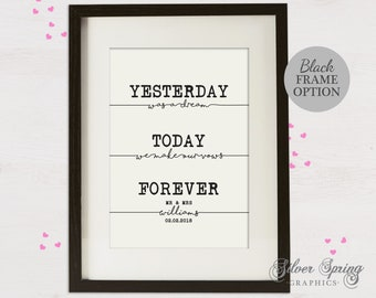 Yesterday, Today, Forever Personalised Wedding Print, Anniversary, Couple Print, Wedding Gift, Love Quote, Framed Print, Personalised Print