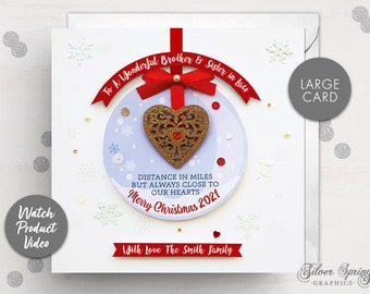 Personalised Family Card, Christmas Card, Christmas Apart, Bauble, Seasons Greetings, Son Card, Daughter Card, Distance Card, Miss You Card