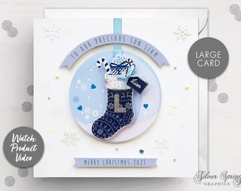 Personalised Christmas Card, Son, Grandson, Cousin, Nephew, Godson, Brother, Special Christmas Card, Grandparent, Stocking Card, Initial