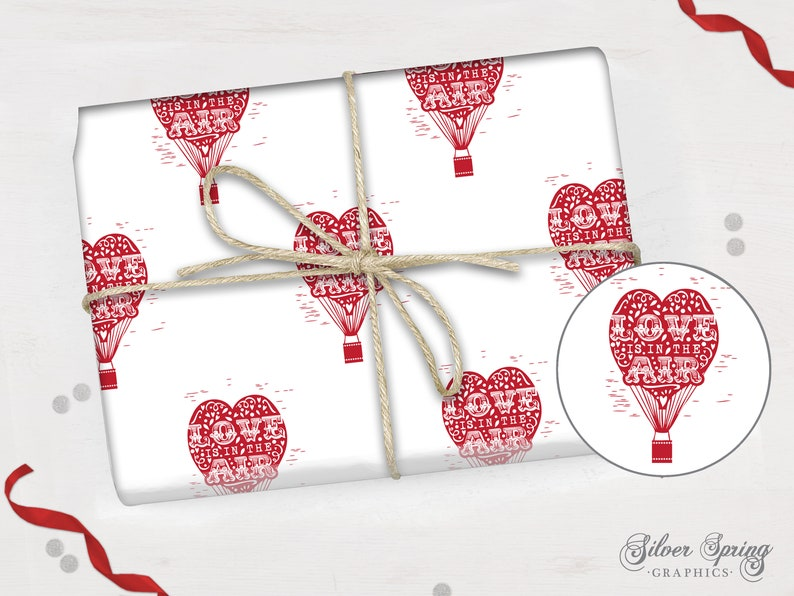 Love is in the Air Wrapping Paper, Gift Wrap, Hot Air Balloon, Heart, Love  Gift, Small Gift Wrap, Pack of Wrapping Paper, Sheets of Paper