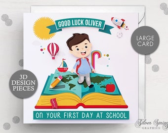 Personalised First Day At School Card, 1st Day at School Card, Large Card, Book Card, Good Luck Card, First Day Card, School Card