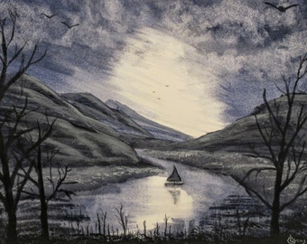 Watercolor Original Landscape , 'Blue Valley Lake'  14 x 11 in, Original art by Irish artist