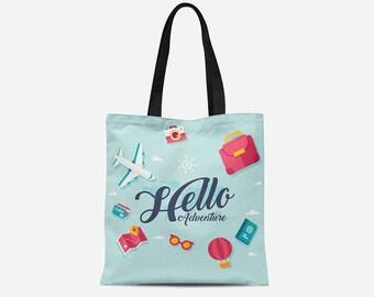 Tote Bag - Hello Adventure Tote Bag - Customized Tote Bag - 16x16 Tote Bag