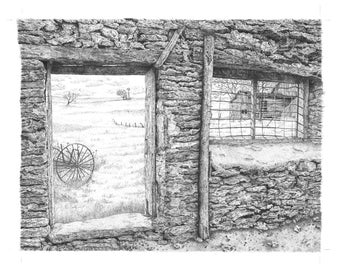 Pen & ink landscape Barn Door