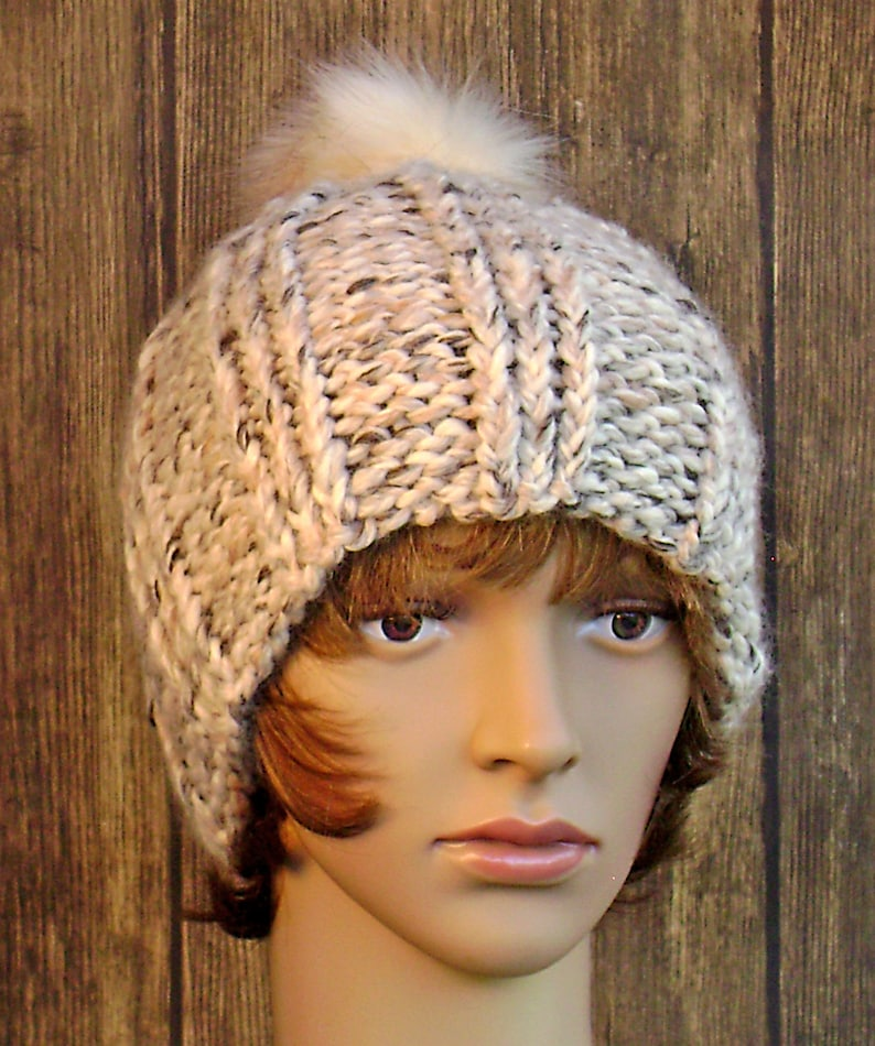 Teens Women/'s Hand Knit with Super Bulky Yarn Triple Ribbed Hat Knit Hat Gift for Her Ready to Ship