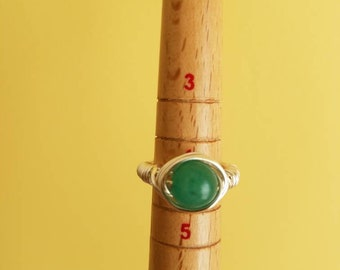 Jade Wire Wrapped Ring
