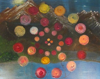 Original Painting View At The Mountains Through The Rose Bush