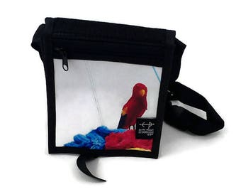 White Junior shoulder bag with red parrot - bird