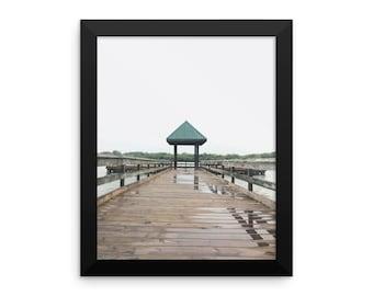Light Rain At The Pier Framed photo paper poster / Glossy Finish