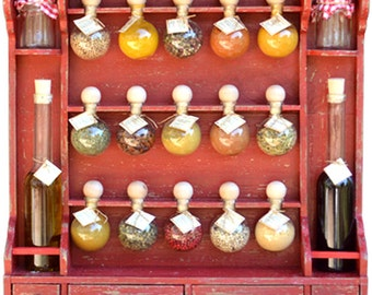 """15 Spice rack bubbles + oil """"Bubbles of spices"""" red patina"""