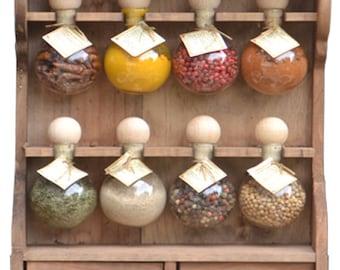 Spice rack 8 bubbles: hue wood