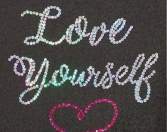 Love Yourself Sequins Smooth Shirt Size - 5XL