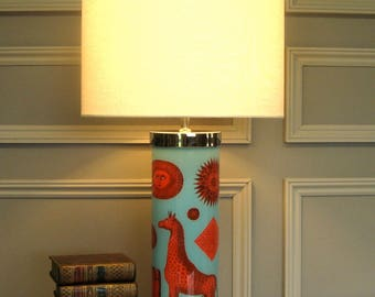 decoupage reverse-glass painted lamp