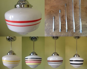 CUSTOM Painted Art Deco or Midcentury Schoolhouse Light with Chrome or Brass Fixture