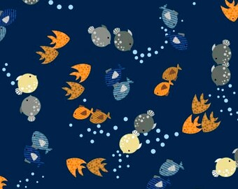 Fish Fabric, Orange Fish, Blue Fish, Gray Fish, Ocean, Water, Noah's Story, Studio E Fabrics, 100% Quilting Cotton Fabric, Choose your Cut