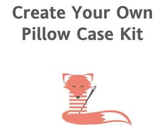 Pillow Case KIT, Standard Size Pillow Case Kit, Instructions, Pillow Cover, Home Decor, Kids Prints, Bedding, Create Your Own