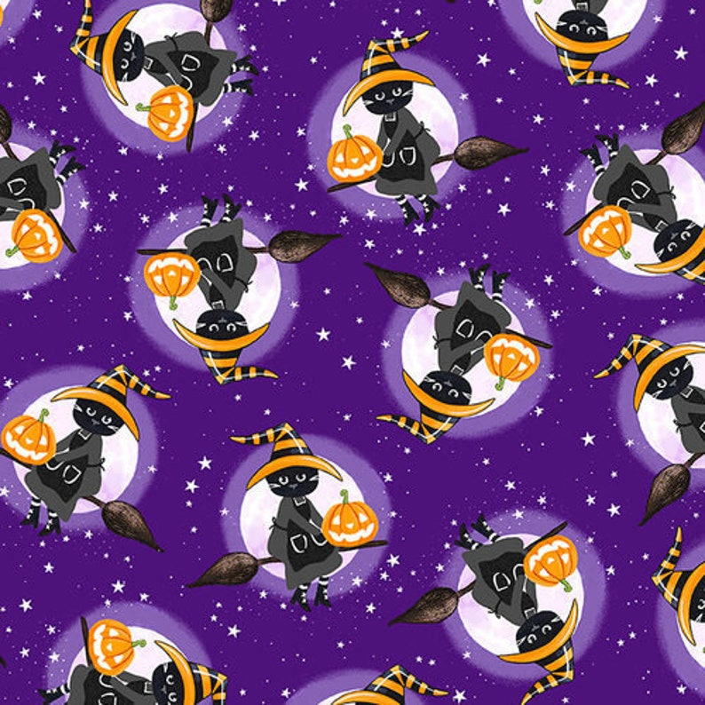 Witch Cats on Broom Purple So Adora Boo Quilting Glow in image 0