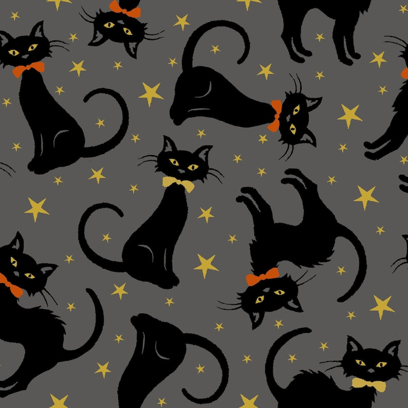 Black Cat Halloween Metallic Gold Stars Midnight Spell image 0