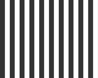 """Black and White 1/2"""" Stripe Fabric, Riley Blake Designs, 100% Woven Cotton Fabric, C530-110 BLACK"""
