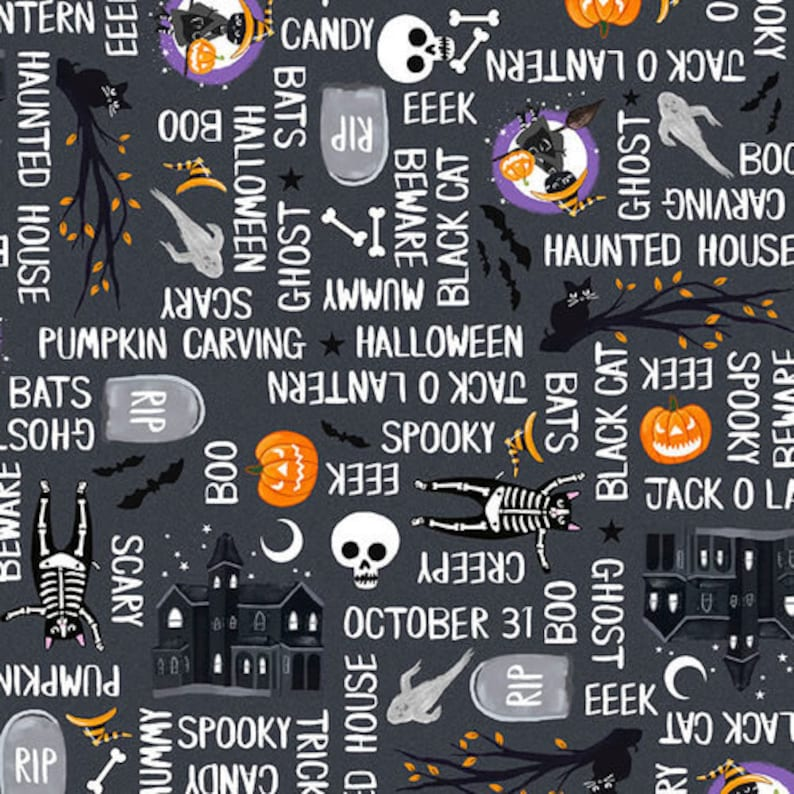 So Adora Boo Halloween Text Word Fabric Blank Quilting Glow image 0
