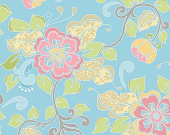 Floral Fabric, Blue Flowers , Floral Fabric, Priscilla, Riley Blake Designs, Flora, Garden, Spring, Summer, 100% Quilting Cotton Fabric