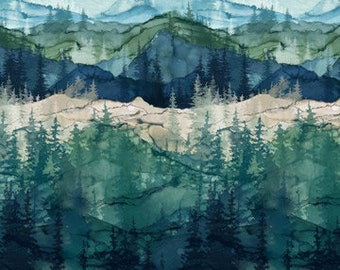 Remnant 3/4 yard, Whispering Pines, Mountains and Trees, Northcott, 100% Digital Print Cotton, 23751-46