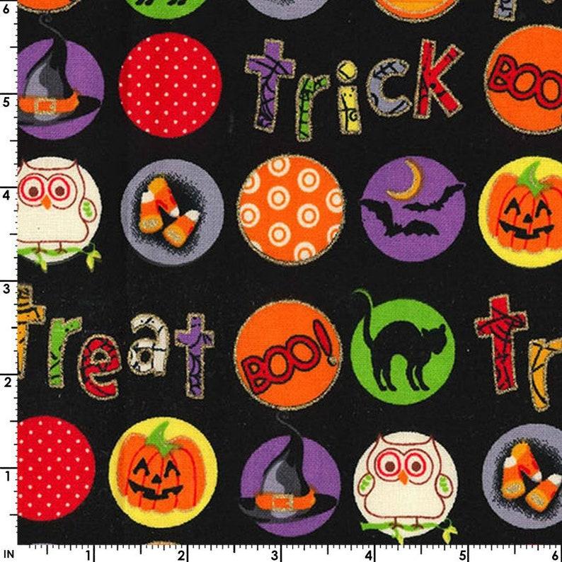 Halloween Fabric Trick or Treat Black Candy Corn Bats image 0
