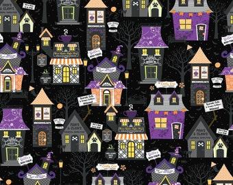 Halloween Hometown Houses on Black Fabric, Hometown Halloween Fabric, Maywood Studio, 100% Cotton, MAS9920-J