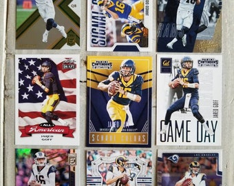 9 Jared Goff Football Cards 3 Rookie Los Angeles Rams Gift Gifts For Men Easter Him Boyfriend