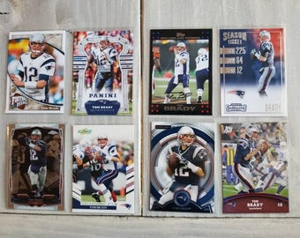 Tom Brady Football Cards - 8 Different - New England Patriots - Michigan Wolverines, Patriots Gift, Gift for Men, Boyfriend
