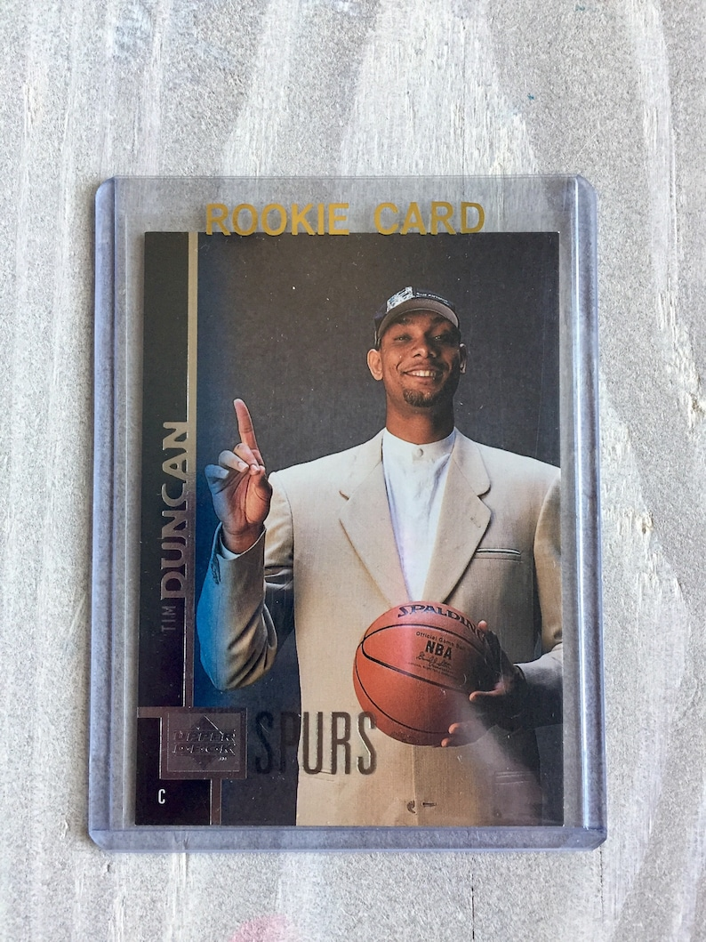 San Antonio Spurs Tim Duncan Rookie Card 1998 Upper Deck Rc True Rookie Wake Forest Spurs Gift Birthday Gift For Him Boyfriend