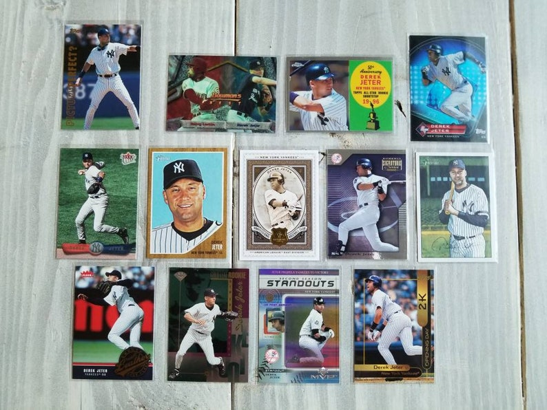 Derek Jeter 13 Baseball Cards With Rookie Card New York Yankees Gift For Him Gifts For Men Gifts For Him Gifts For Boyfriend Gift